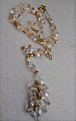 CRYSTAL & pearl BEADS gold tone Dangle CLUSTER drop CHAIN necklace long length Gold Toned Beads