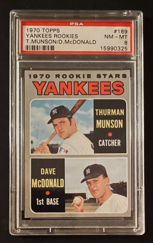 1970 Topps #189 Thurman Munson Dave McDonald Rookie Yankees Stars Rookies PSA 3 Graded Card