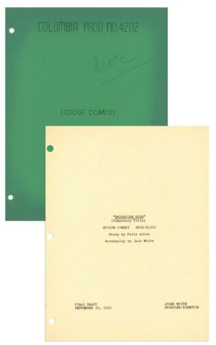 Moe Howard Owned 3Stooges Bubble Trouble Signed Script