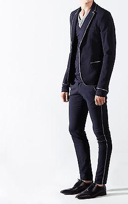 Completo elegante Uomo Abito Giacca e Pantalone Slim Fit Profilo Fango Nero