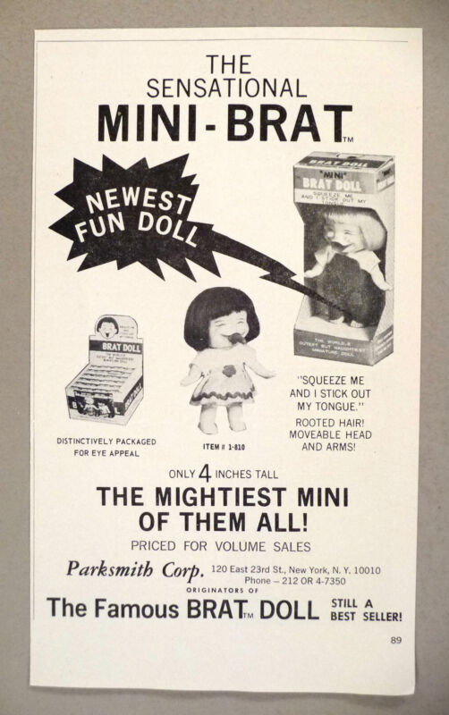 Brat Doll PRINT AD - 1967 ~ Parksmith Corp dolls