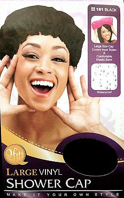 QFITT LARGE VINYL BLACK SHOWER CAP WITH COMFORTABLE ELASTIC BAND #181