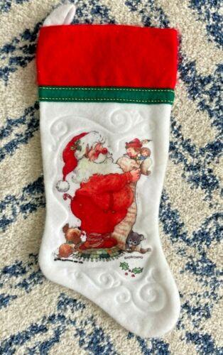 Vintage Giordano Santa Claus Checking List Embossed Felt Christmas Stocking 1984
