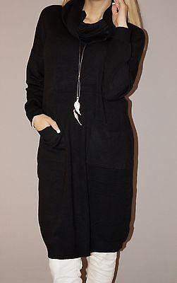 Weicher Pullover Kleid (Feinstrick Tunika Kleid Loop Lang Pullover Taschen Weich S M 38 40 Schwarz Top )