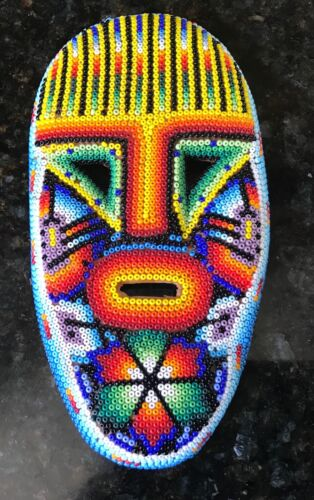 """Vintage Carved Mexican/Huichol Seed Bead Wood Tribal Face Mask ~ 6"""" L x 3.5"""" W"""