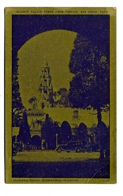 Gold Worlds Fair Postcard California Pacific Expo 1935 Science Palace San Diego