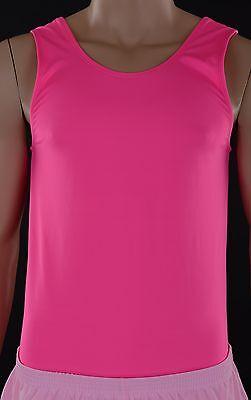 Mens Fluro Pink Nylon Lycra Leotard, Acro Gym Gymnastics Skating Trampoline (Mens Pink Leotard)