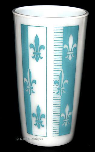 Hazel Atlas Fleur De Lis Turquoise 1950s Platonite Tumbler