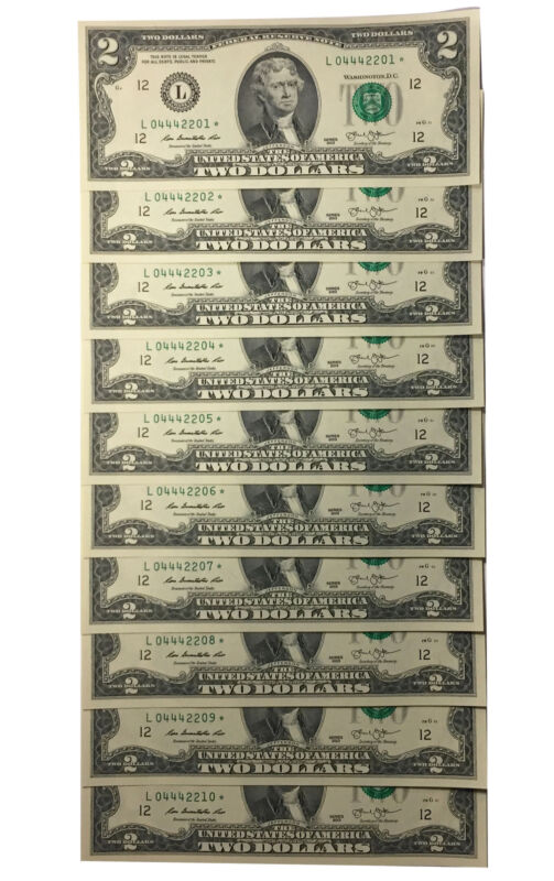 10 Consecutive Serial # Uncirc. $2 (2013) BILL * STAR * NOTES in 10-Page ALBUM