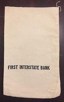 Vintage First Interstate Bank Canvas Deposit Bag Coin Money
