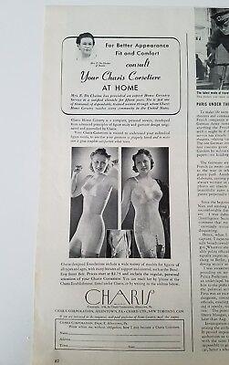 1940 CHARIS CORSETIERE corset women's girdles bra fashion ad