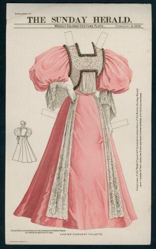 UNCUT February 9, 1896 Boston Sunday Herald Dress (7593)