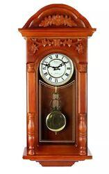 Bedford 27.5 Padauk Oak Finish Grandfather Wall Clock w/ Pendulum & 4 CHIMES