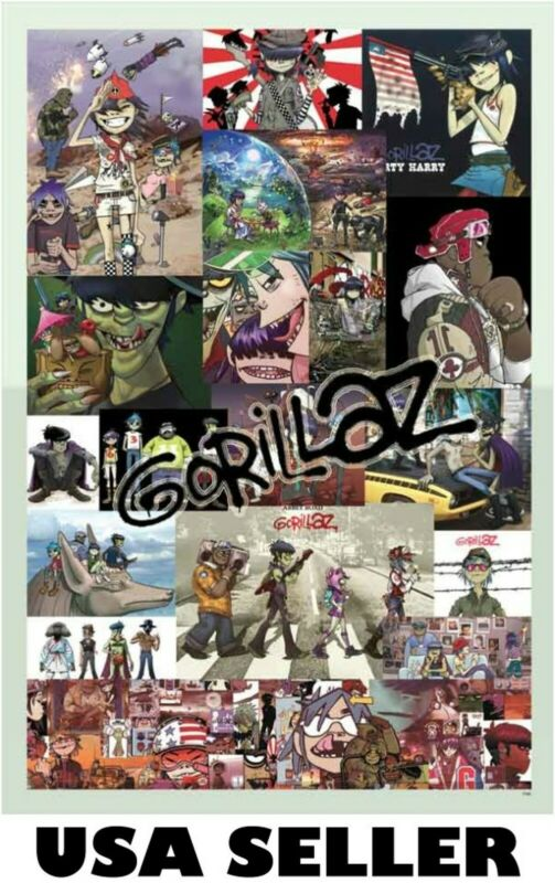 Gorillaz collage multi-panel POSTER 23.5 x 34 great gift SHIP FROM USA Gorrillaz