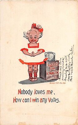 1912 Nobody Loves Me How Can I Win Any Votes post card Anti Suffrage Cobb Shinn