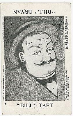 1908 Bill Taft Bill Bryan Happy Sad Reverse Image Flip-over Postcard with Poem