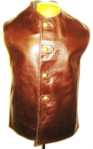 Vintage Cold War Belgin Army Brown Leather Jerkin, Size 2, Brass Buttons