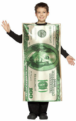 CHILD $100 DOLLAR BILL MONEY COSTUME SIZE 7-10 GC995](Dollar Bill Costume)