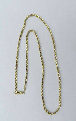 Unisex Solid Rope Chain Necklace w/ Barrel Clasp - 10K Yellow Gold - 20 -