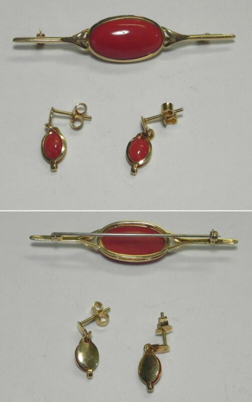 C925 Vintage 18K Solid Yellow Gold Red Coral Pin & Dangle Earring Set