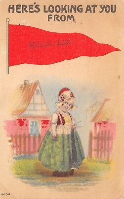 """""""Here's Looking at You"""" from Wilsey Kansas~Sideways Glance~1915 Pennant Postcard"""