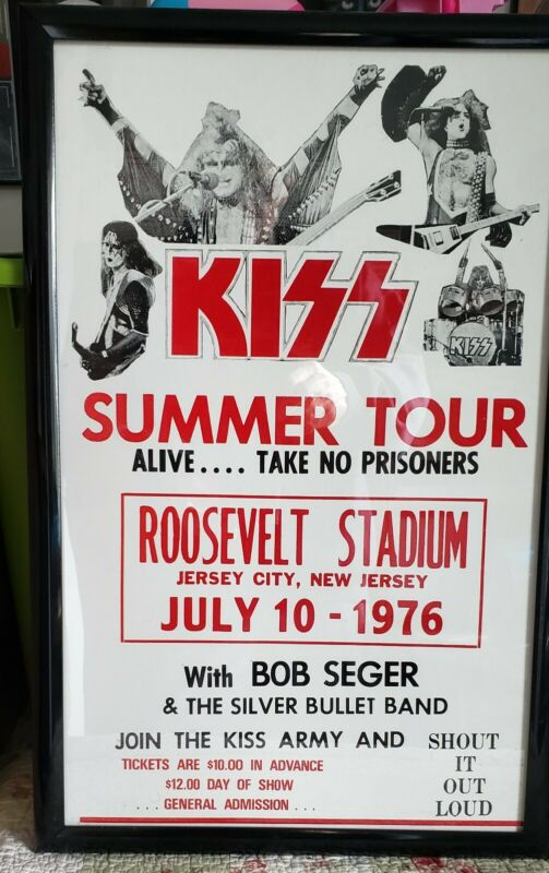 Kiss concert poster board advertisement 1976 alive Bob Seger Very cool framed