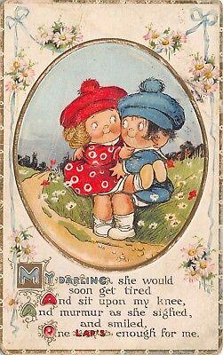 Grace Wiederseim~Cute Kids in Red & Blue~Sits on Knee~One Lap's Enough~Comic