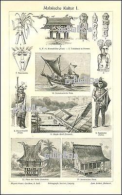 Stich Malaiische Kultur Sumutra Borneo Java Seeräuber Sulu Nias 1909 Original