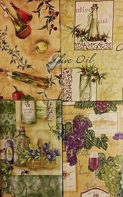 Tuscan Themed Vinyl Flannel Back Tablecloth Elrene Various Sizes Wine Olive Oil