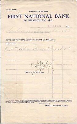 1911 Birmingham AL First National Bank Coleman Lumber Co Collection Doc Hopkins