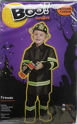 Fire Chief Halloween Costume (Halloween Boys Fire Chief Fireman Jacket Top Hat Costume Size Small 3T-4T)