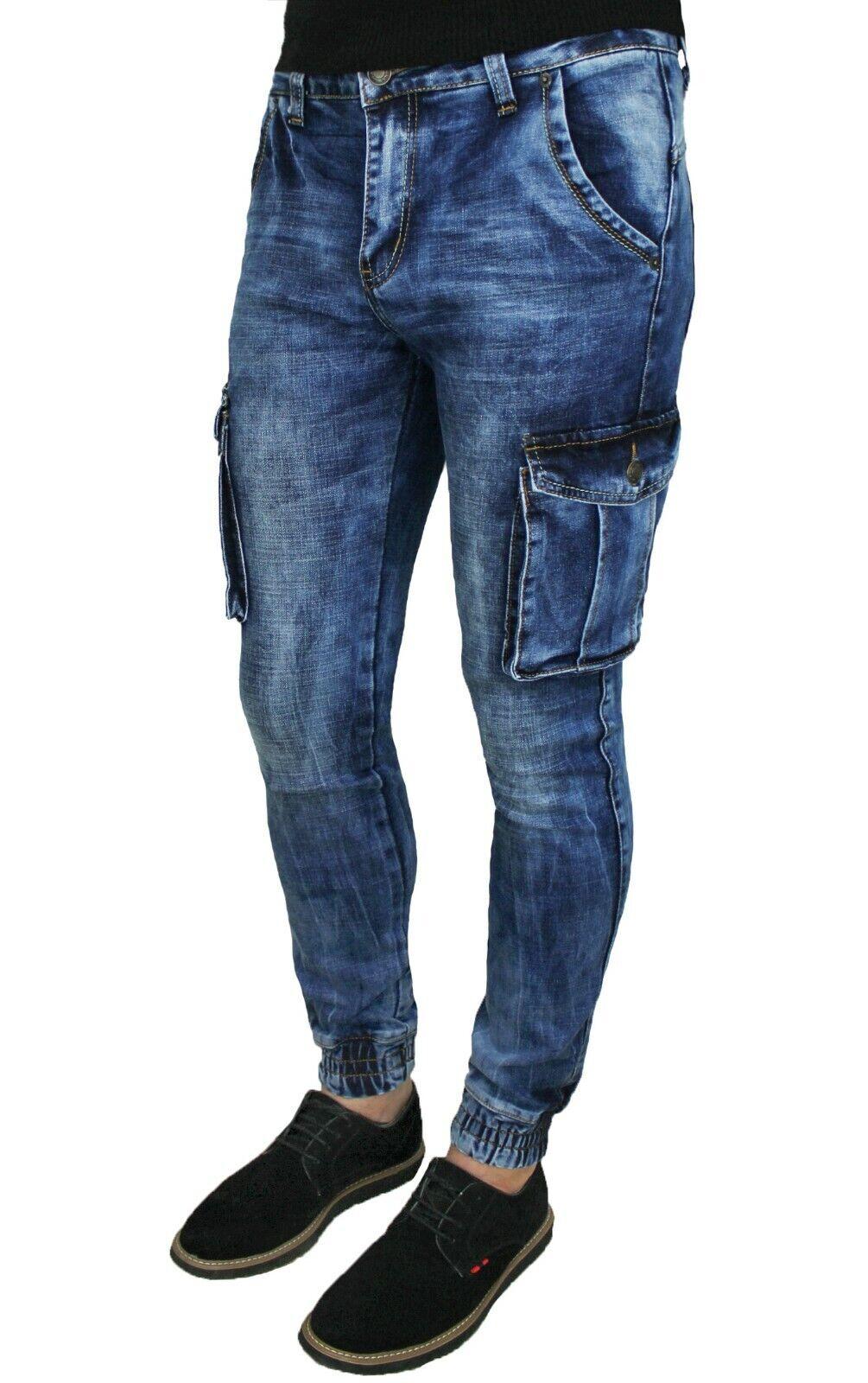 4873a2762a Jeans uomo Cargo Blu Denim casual slim fit aderenti con tasconi laterali