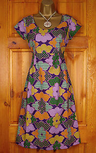 NEW-WHITE-STUFF-LADIES-PURPLE-GREEN-YELLOW-VINTAGE-RETRO-SUMMER-TUNIC-TEA-DRESS