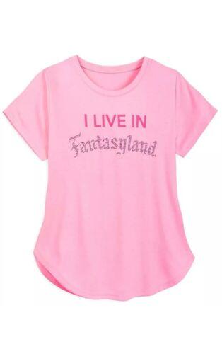 NWT Disney Parks I LIVE IN FANTASYLAND Jeweled T-Shirt Women Retails $39