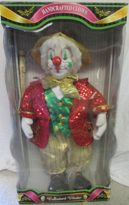 NIP Collectible Handcrafted Porcelain Clown Doll by Collector
