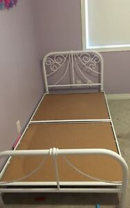 White single/twin metal bed frame