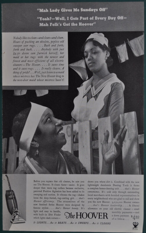 1934 HOOVER Vacuum advertisement, Black Maids talking, racist stereotype