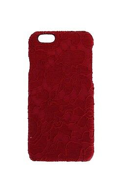 NEW $200 DOLCE & GABBANA Phone Case Cover Red Lace Cotton Leather iPhone6 Skin