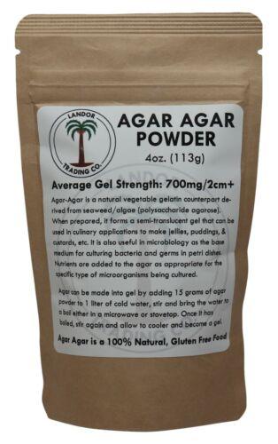 Agar Agar Powder 4oz (113 grams) - Average Gel Strength 700g/cm2
