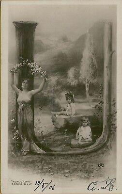 Letter U Crafts (1906 Large Letter U Woman Children Rotograph Woods Arts & Crafts Postcard)