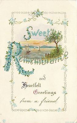 James E Pitts~Sweet Remembrance~Forget-Me-Not Flower Letters~Dainty Chani~Emboss