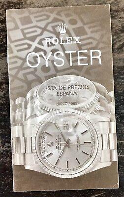 ROLEX Vintage Price List 1989 Spain Daytona Zenith 16520 16523 16600 16700 5513