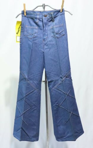 Vintage 70s Jeans Quilted Dead Stock Girls sz 12 Bell Bottoms