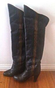 Ladies Vintage 1980's Charcoal Grey Knee High Boots
