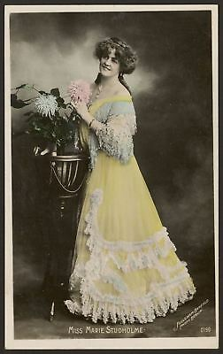 Actress. Miss Marie Studholme In a Beautiful Yellow Dress. c1906 Photo Postcard