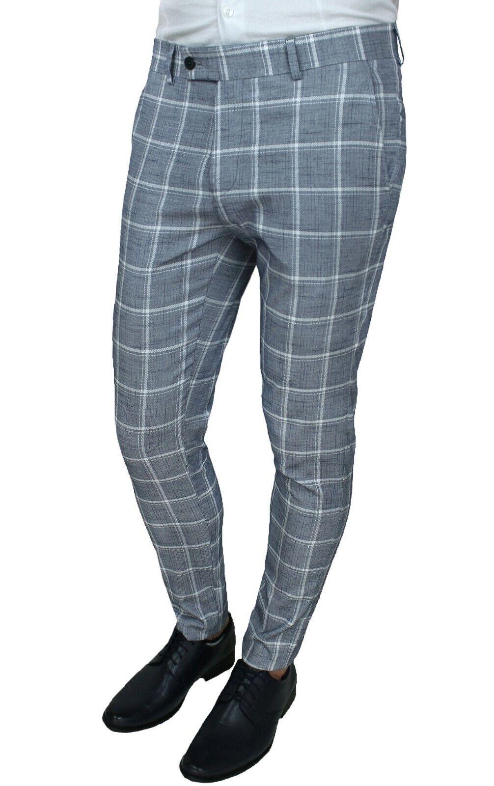 2b5e314e1f05 Pantaloni uomo sartoriali grigio fantasia quadri eleganti casual 100% made  Italy