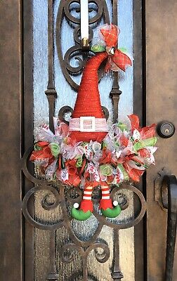 Christmas Santa Elf Hat Deco Mesh Wreath with Legs, Red, Green, White & Silver ()