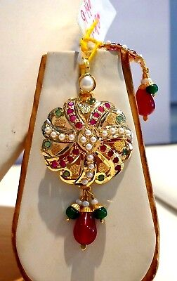 22 K GOLD NECKLACE PENDANT EARRING SET WITH RUBY EMERALD PEARL JEWELRY