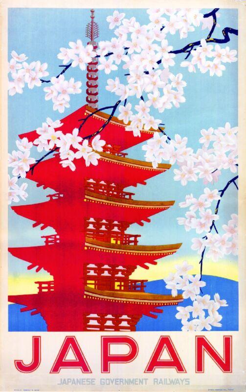 Japan Japanese Railways Vintage Asia Asian Travel Advertisement Art Poster