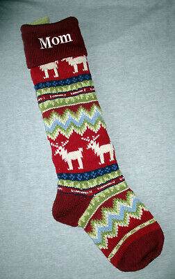 """Pottery Barn Kids Large 28"""" Knit Christmas Stocking Reindeer Personalized """"Mom"""""""